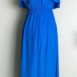 Alice & Trixie Silk Ruffle Strapless Maxi Dress